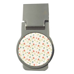Floral Pattern Wallpaper Retro Money Clips (round)
