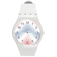 Dots Pointillism Abstract Chevron Round Plastic Sport Watch (m)