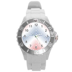Dots Pointillism Abstract Chevron Round Plastic Sport Watch (l) by Pakrebo