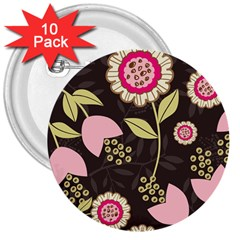 Flowers Wallpaper Floral Decoration 3  Buttons (10 Pack)  by Pakrebo
