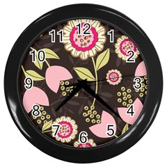 Flowers Wallpaper Floral Decoration Wall Clock (black)