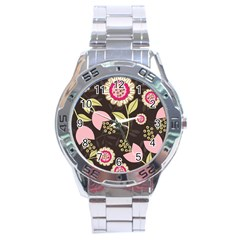 Flowers Wallpaper Floral Decoration Stainless Steel Analogue Watch