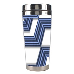 Geometric Fabric Texture Diagonal Stainless Steel Travel Tumblers