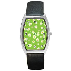 Daisy Flowers Floral Wallpaper Barrel Style Metal Watch