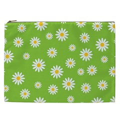 Daisy Flowers Floral Wallpaper Cosmetic Bag (xxl)