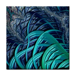 Oceanic Fractal Turquoise Blue Tile Coasters by Pakrebo