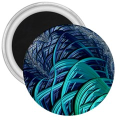 Oceanic Fractal Turquoise Blue 3  Magnets