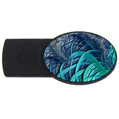 Oceanic Fractal Turquoise Blue Usb Flash Drive Oval (2 Gb)