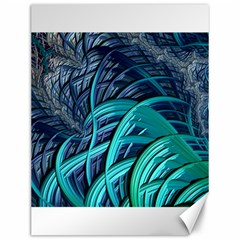 Oceanic Fractal Turquoise Blue Canvas 12  X 16
