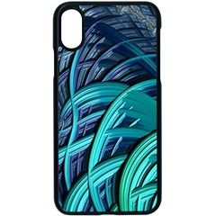 Oceanic Fractal Turquoise Blue Apple Iphone Xs Seamless Case (black)