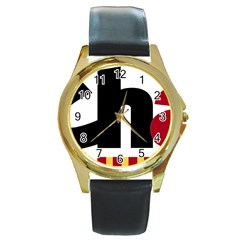 Logo Of Chunta Aragonesista Round Gold Metal Watch by abbeyz71