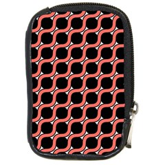 Between Circles Coral And Black Compact Camera Leather Case