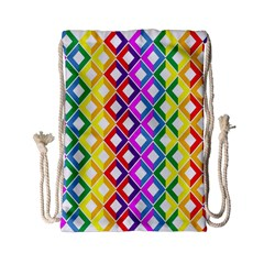 Rainbow Colors Chevron Design Drawstring Bag (small)