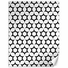 Pattern Star Repeating Black White Canvas 12  X 16