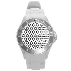 Pattern Star Repeating Black White Round Plastic Sport Watch (l) by Pakrebo
