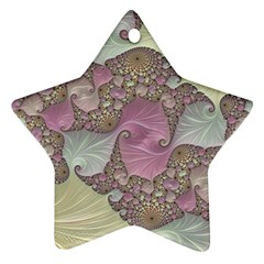 Pastels Cream Abstract Fractal Ornament (star)