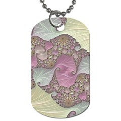 Pastels Cream Abstract Fractal Dog Tag (one Side)