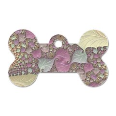 Pastels Cream Abstract Fractal Dog Tag Bone (two Sides)