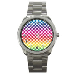Polka Dots Spectrum Colours Dots Sport Metal Watch by Pakrebo