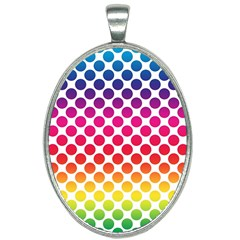 Polka Dots Spectrum Colours Dots Oval Necklace