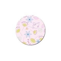 Floral Background Bird Drawing Golf Ball Marker
