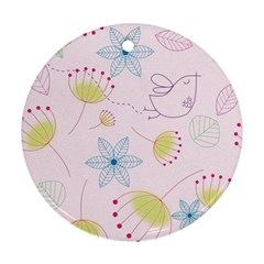 Floral Background Bird Drawing Round Ornament (two Sides)