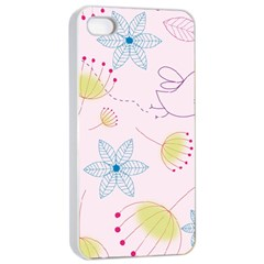 Floral Background Bird Drawing Apple Iphone 4/4s Seamless Case (white) by Pakrebo