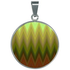 Zig Zag Chevron Classic Pattern 30mm Round Necklace