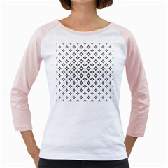 Star Curved Pattern Monochrome Girly Raglan