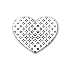 Star Curved Pattern Monochrome Rubber Coaster (heart)