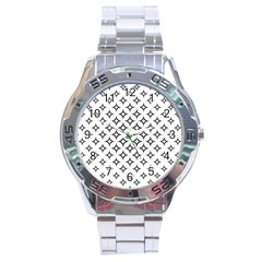 Star Curved Pattern Monochrome Stainless Steel Analogue Watch