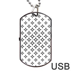 Star Curved Pattern Monochrome Dog Tag Usb Flash (two Sides)