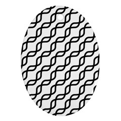 Diagonal Stripe Pattern Oval Ornament (two Sides)