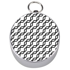 Diagonal Stripe Pattern Silver Compasses