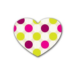 Polka Dots Spots Pattern Seamless Heart Coaster (4 Pack)  by Pakrebo