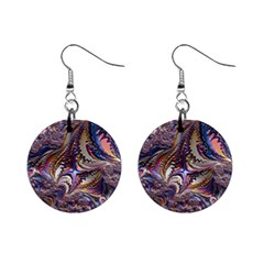 Fractal Artwork Pattern Digital Mini Button Earrings