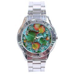 Fractal Art Colorful Pattern Stainless Steel Analogue Watch