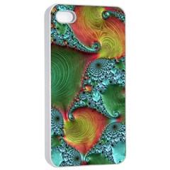Fractal Art Colorful Pattern Apple Iphone 4/4s Seamless Case (white)