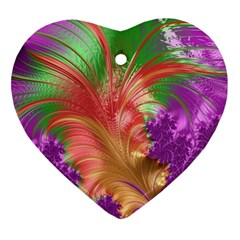 Fractal Purple Green Orange Yellow Heart Ornament (two Sides)