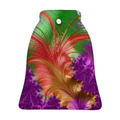 Fractal Purple Green Orange Yellow Bell Ornament (two Sides)