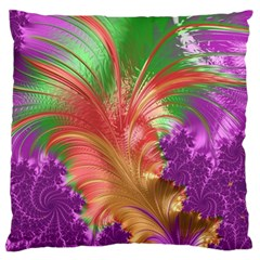 Fractal Purple Green Orange Yellow Standard Flano Cushion Case (one Side)