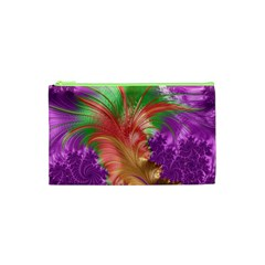 Fractal Purple Green Orange Yellow Cosmetic Bag (xs)