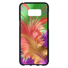 Fractal Purple Green Orange Yellow Samsung Galaxy S8 Plus Black Seamless Case