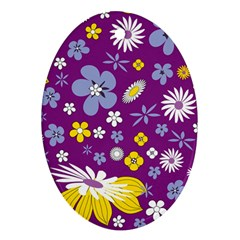 Floral Flowers Wallpaper Paper Ornament (oval)