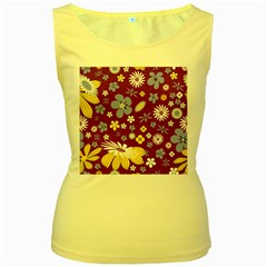 Floral Flowers Wallpaper Paper Women s Yellow Tank Top