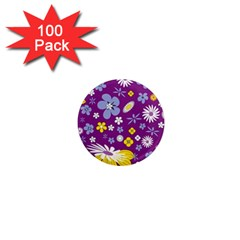 Floral Flowers Wallpaper Paper 1  Mini Magnets (100 Pack)  by Pakrebo