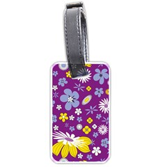 Floral Flowers Wallpaper Paper Luggage Tags (one Side)