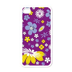 Floral Flowers Wallpaper Paper Apple Iphone 4 Case (white)