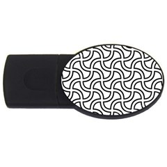 Pattern Monochrome Repeat Usb Flash Drive Oval (2 Gb) by Pakrebo
