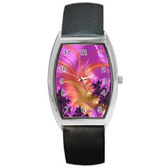 Fractal Puffy Feather Art Artwork Barrel Style Metal Watch